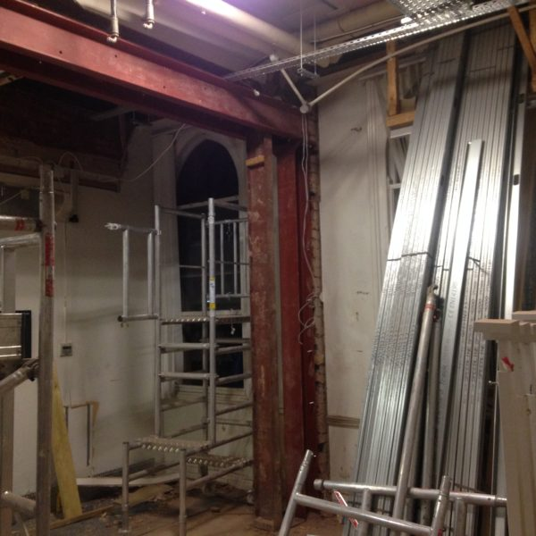 Steel frame for internal floor of commercial building, Brixton London