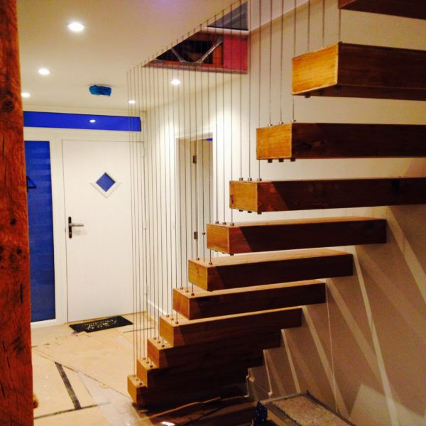 Metal, Steel and Wood floating staircase, Whitstable Kent