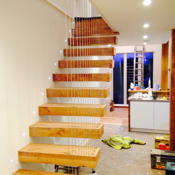 Floating staircase designed and installed in Whitstable Kent