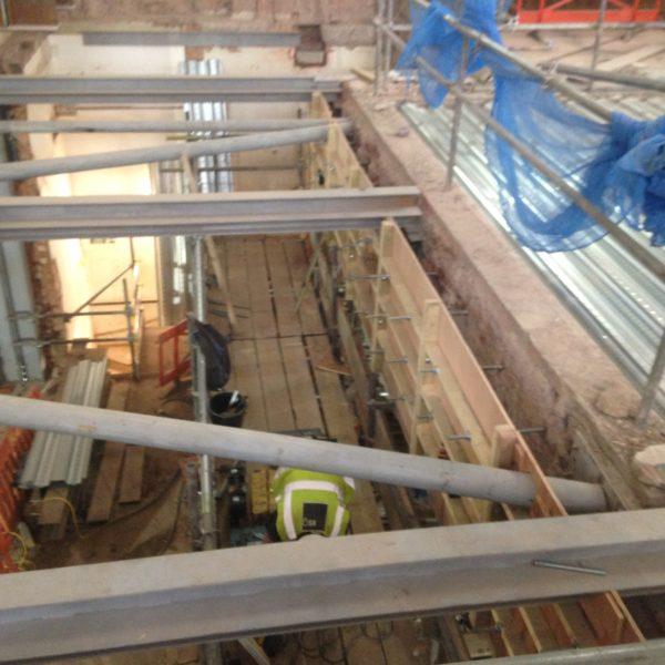 Preparation work for multiple Steel beams, Brixton London