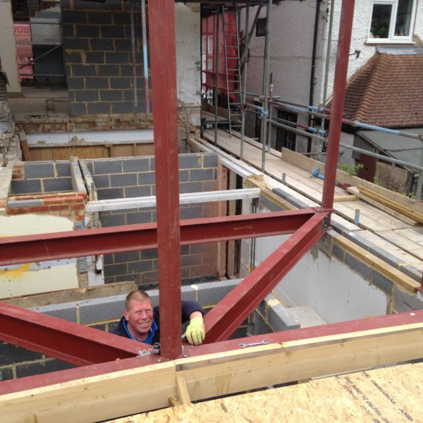 Structural Steel beams for home extension in Whitstable.