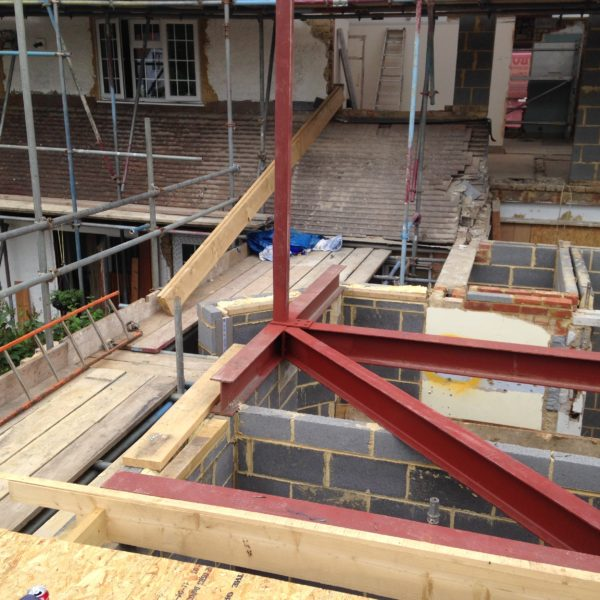 Structural Steel Frame for 1st floor house extension. Whitstable