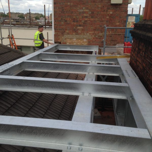 Steel Platform for open mesh air con unit in Reading Berkshire