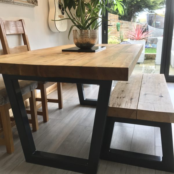 Galvanised Steel box section created for a bespoke family dining table, Margate Kent